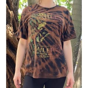 Bob Marley graphic bleach tie dyed shirt large